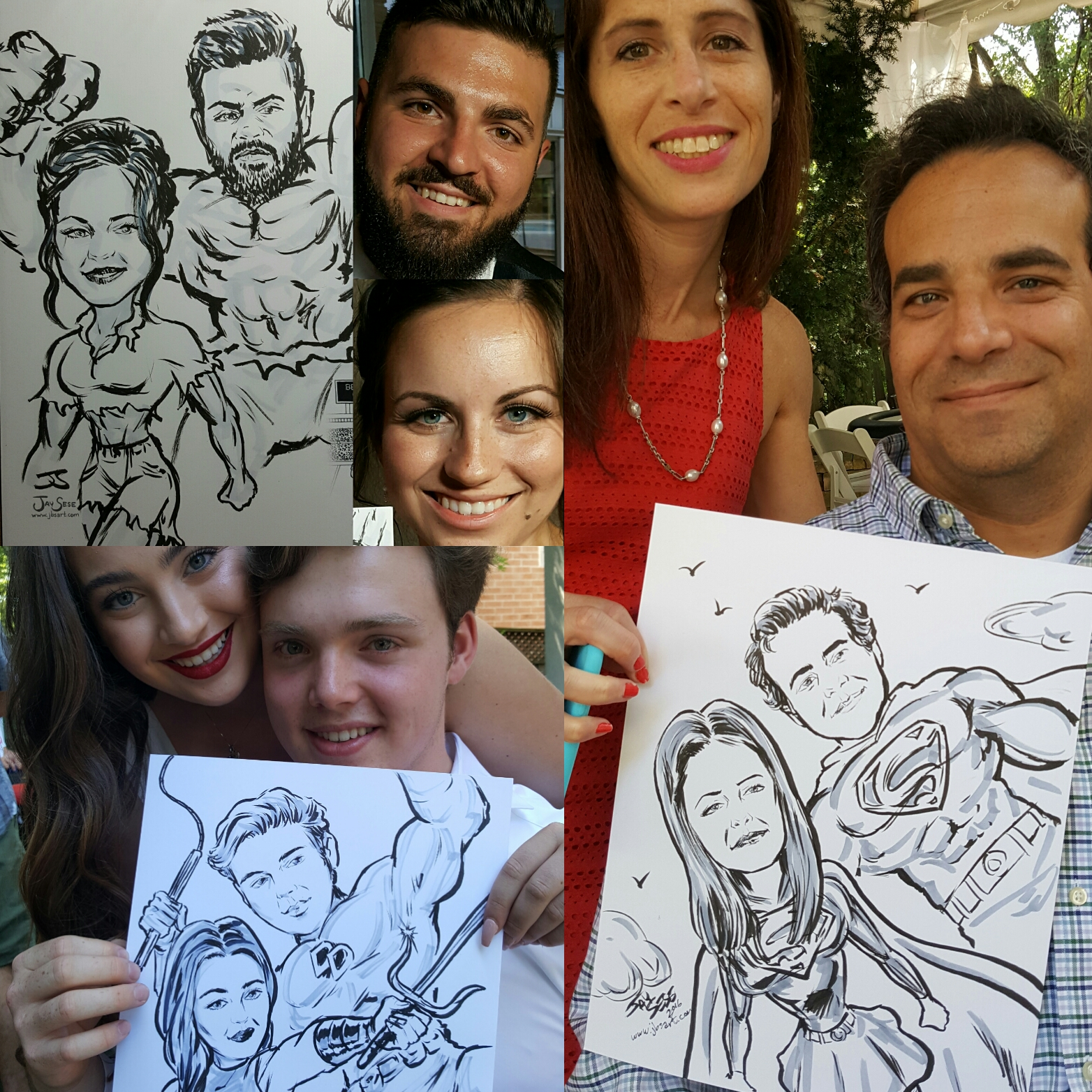Sample superhero caricatures, 2016